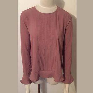 Ann Taylor Bell Sleeve Blouse Top Shirt Blush XS
